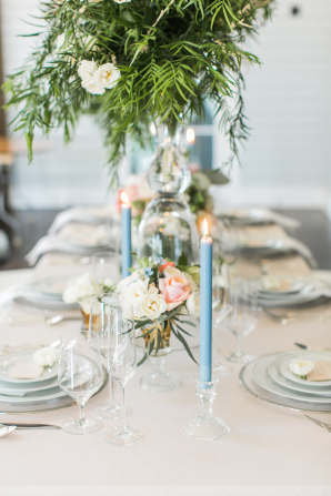 Centerpiece with Blue Tapers
