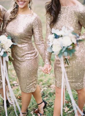 Champagne Sequin Bridesmaids Dresses