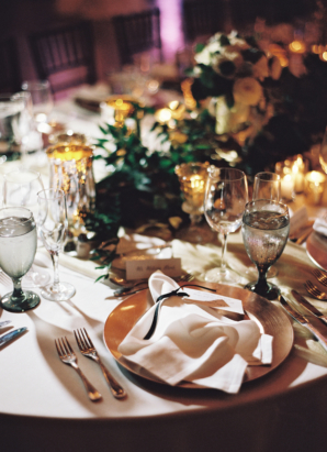 Copper Gold and Green Wedding Reception