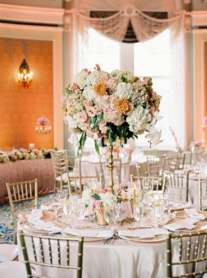 Elegant Coral and Gold Wedding Reception