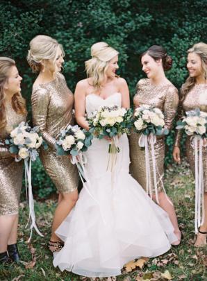 Fall Gold Bridesmaids Dresses