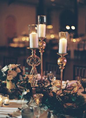 Gold Pedestal Candle Holders