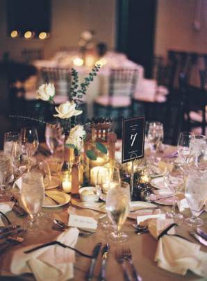 Gold and Green Candlelight Wedding Reception