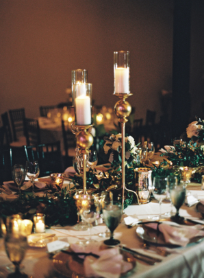 Green and Gold Fall Wedding Centerpiece