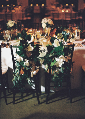 Greenery and Orchid Chair Decor for Wedding