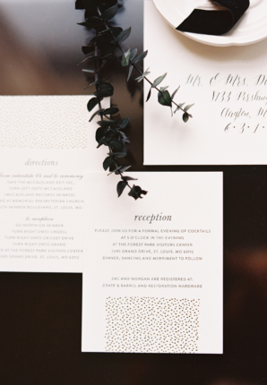 Modern Gold and Black Wedding Invitations