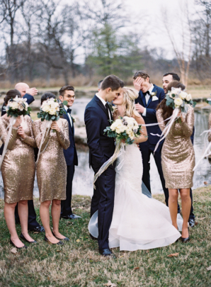 Navy and Gold Bridal Party