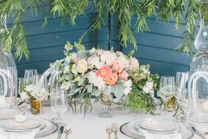 Pale Coral and Dusty Miller Centerpiece