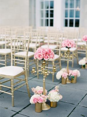 Pink Rose and Hydrangea Aisle Decor