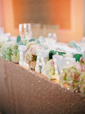 Pink Sequin Wedding Linen