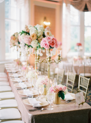 Pink and Gold Tall Centerpieces