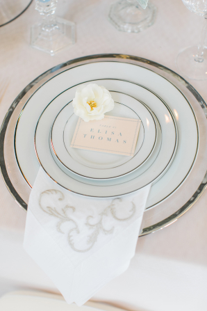 Place Setting in Silver and White