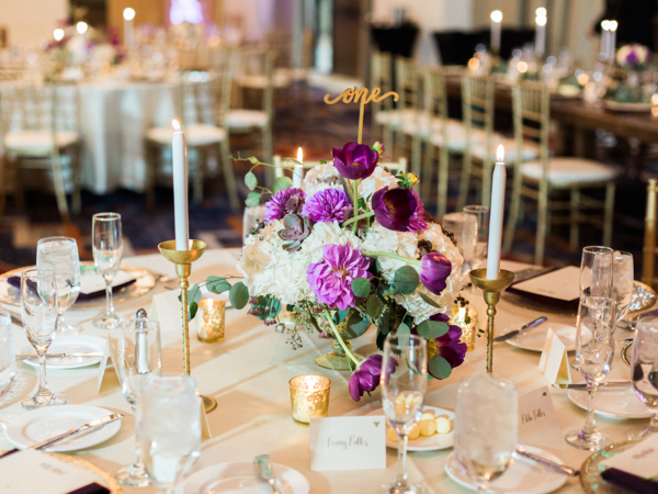 Purple Ivory and Gold Wedding
