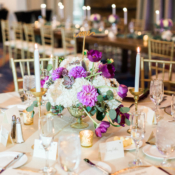 Purple and Ivory Centerpiece with Succulents