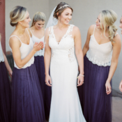 Purple and White Bridesmaids Dresses