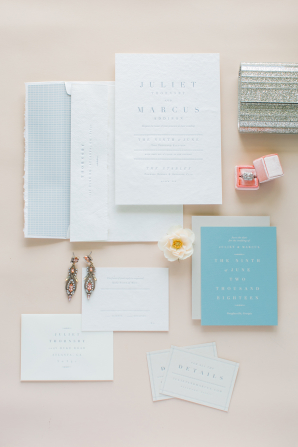 Robins Egg Blue and White Wedding Invitations