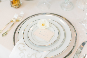 Silver and White Wedding Place Setting