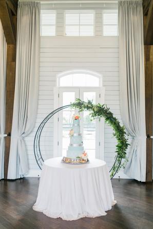 Wedding Cake with Greenery Backdrop