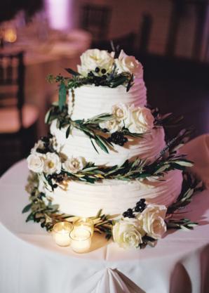 Wedding Cake with Olive Leaf