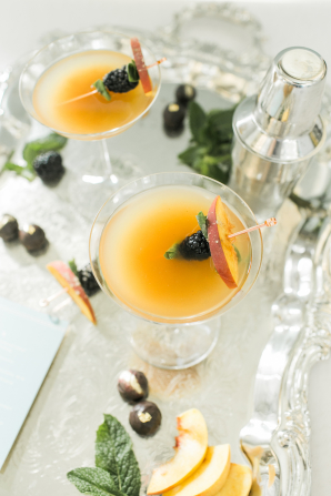 Wedding Cocktail with Peaches and Berries