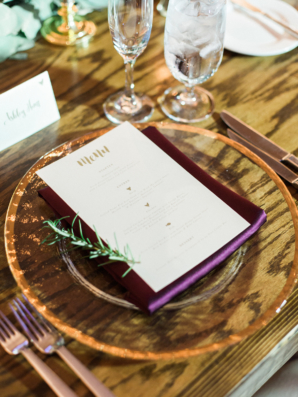 Wedding Menu on Clear Charger