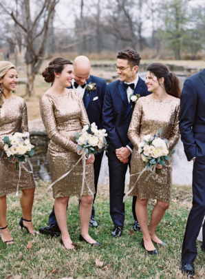 Wedding Party in Gold and Navy