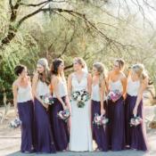 White and Purple Bridesmaid Separates