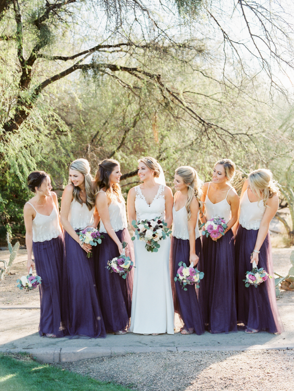 White and Purple Bridesmaid Separates