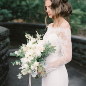 Bride in Lace Dress with Sleeves