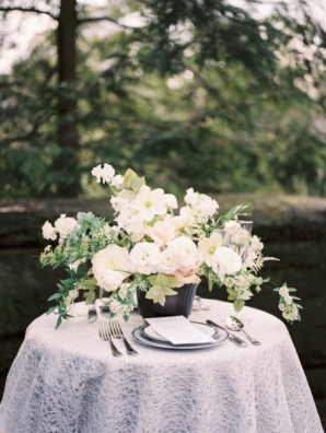 Compote Centerpiece in Ivory and Blush