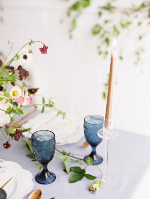 Blue Goblets at Wedding Table