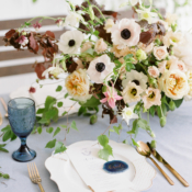 Blue Gold and Blush Wedding Table