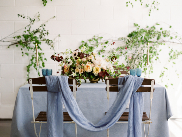 Blue Silk Draped Wedding Table