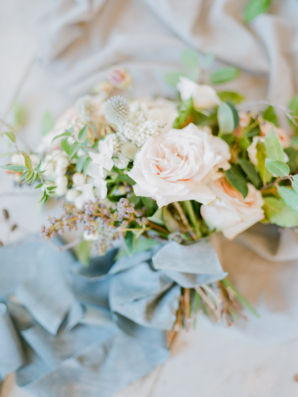 Blue Silk Ribbon on Bouquet