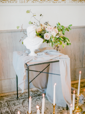Blue Silk and Taper Candle Wedding Decor