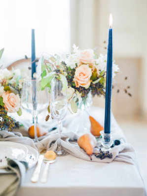 Blue Taper Candles for Wedding