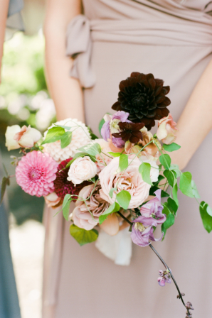 Bouquet of Colorful Dahlias and Roses