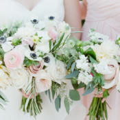 Bouquets of Blush and White Flowers