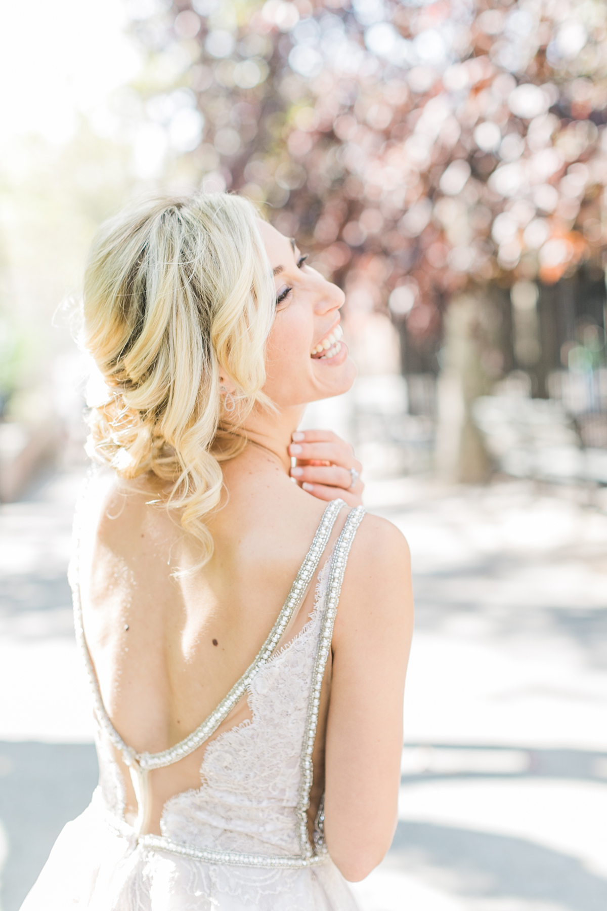 Bride In Silver Beaded Gown
