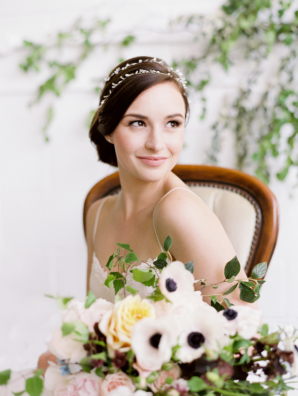 Bride with Double Wrap Headpiece
