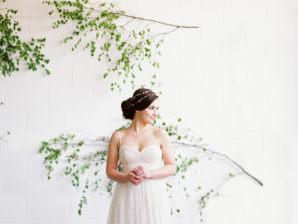 Bride with Greenery Wall