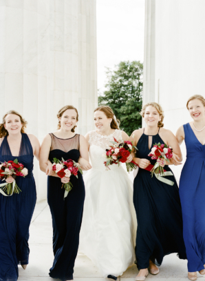 Bridesmaids in Blue and Navy