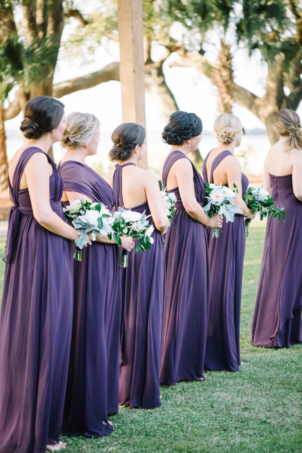 Bridesmaids in Purple Jenny Yoo Gowns