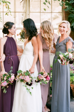 Bridesmaids in Purple and Blue