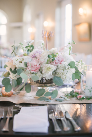 Centerpiece of Pink and Ivory Garden Flowers