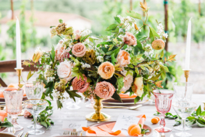 Compote Centerpiece with Garden Roses