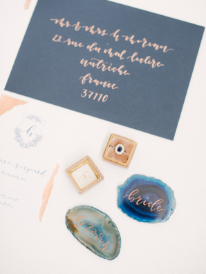 Copper and Blue Wedding Stationery
