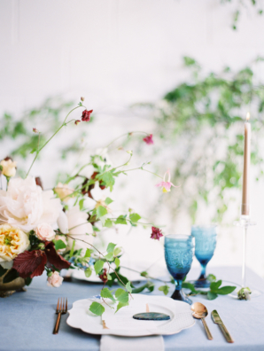 Copper and Blue Wedding Table