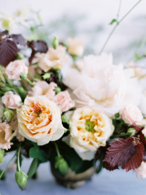 Elegant Apricot and Burgundy Wedding Flowers