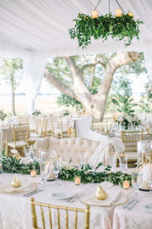Elegant Taupe and Green Tent Wedding Reception